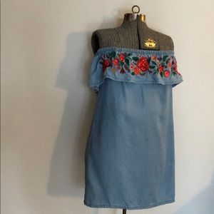Denim Floral Midi Dress
